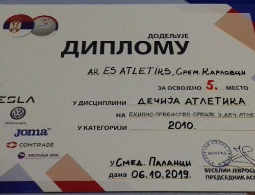 Peto mesto na Prvenstvu Srbije u dečijoj atletici 2019